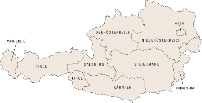 Map of Austria for Chalet Holidays